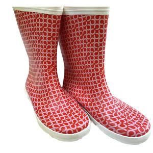 "Coach ""Ursula"" Pink/Red Signature Print Rain Boots"